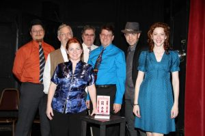 The performance cast from the show.  From left to right: Salsa Sterling, Gordon Smuder, Windy Bowlsby, Don Cosgrove, me, Geoffrey Brown and Dawn Krosnowski