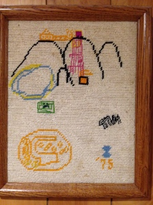 Picture drawn by an Eight-year-old me and made into needlepoint by my Dad.