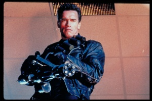 Here's Arnold Schwarzenegger from Terminator 2.  The one with the bad ass version of Sarah Connor.  See how emasculated he looks?