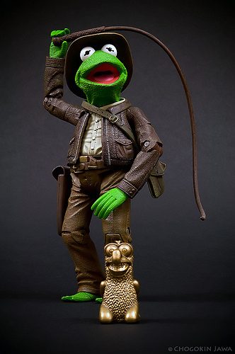 It is Kermit the Frog dressed as Indiana Fucking Jones!